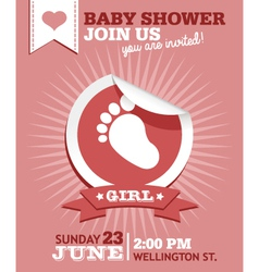 Baby Girl Shower Invitation Card vector image vector image