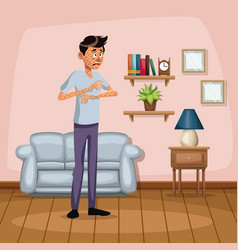 background living room home with measles sickness vector image vector image