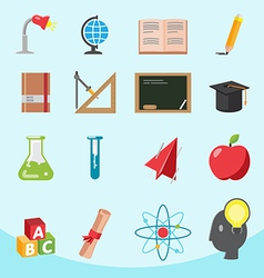 Education Flat Icon Design Set vector image vector image