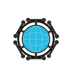 Global digital technology data connection vector