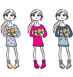 Hand drawn girls with books vector image vector image