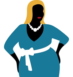 Plus size woman in blue dress vector image vector image