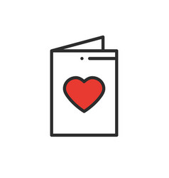 postcard line icon happy valentine day sign and vector image