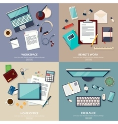 Set of 2x2 banners of home workspace Flat design vector image