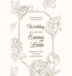 wedding invitation card template rose peony flower vector image vector image