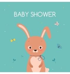 Baby shower card Cute cartoon rabbit vector image