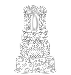 cake coloring for adults vector image vector image