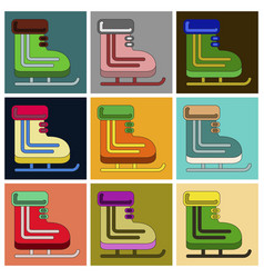 set of icons in flat design skates vector image