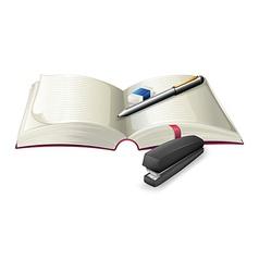 An open notebook with a stapler a pen and an vector image