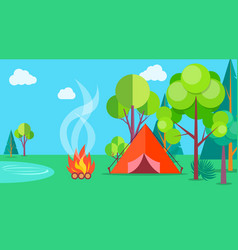 camping time in summer template poster with tent vector image vector image