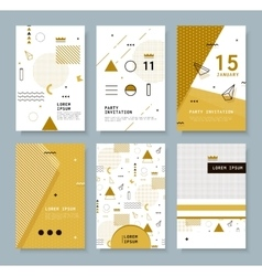 Cards with Geometric Elements Memphis vector image vector image