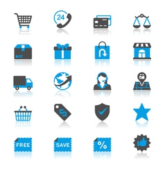 E-commerce flat with reflection icons vector image vector image