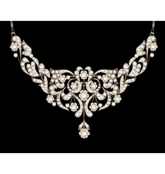 necklace womens wedding with precious stones vector image