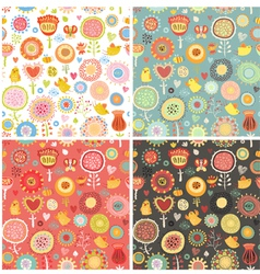 Set Pattern with birds and flowers vector image vector image