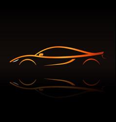 supercar orange outline elegant sign vector image