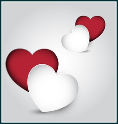 valentines day paper hearts window frames set vector image