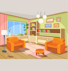 a cartoon interior of an vector image