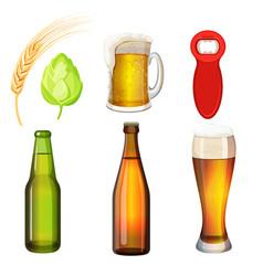 barley grains malt bottle opener flasks vector image vector image