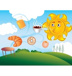 cartoon sun delights cooked breakfast vector image vector image