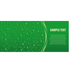 Green drops panorama with place for text vector