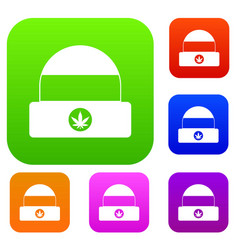 hat with sign cannabis set collection vector image vector image