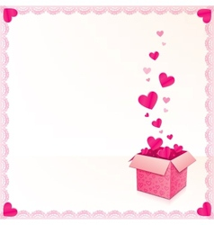 Pink greeting card with ornate box of hearts vector image