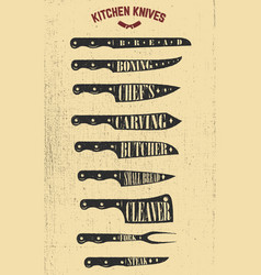 set of hand drawn kitchen knives design elements vector image