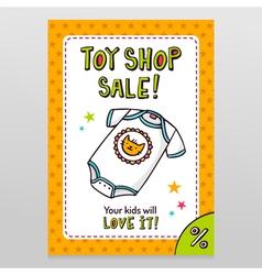 Toy shop sale flyer design with cute baby bodysuit vector image vector image