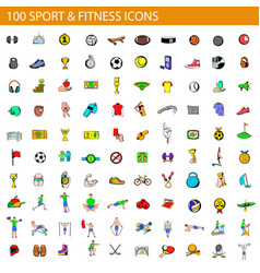 100 sport and fitness icons set cartoon style vector