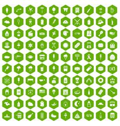 100 street food icons hexagon green vector
