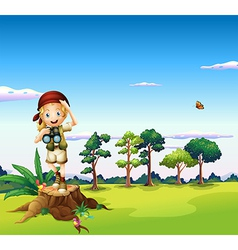 A girl with a telescope standing above a stump vector image