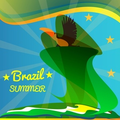 abstract summer brazil card with toucan bird and vector image
