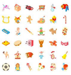 amusement icons set cartoon style vector image