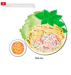 Banh Xeo or Vietnamese Crispy Pancakes with Shrimp vector image