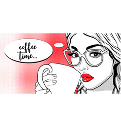 beautiful girl with sunglasses and coffee cup vector image