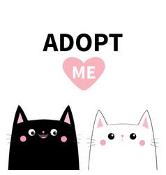 Black white cat set adopt me pink heart cute vector