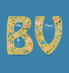 Bon voyage folk letters with pearl collars vector