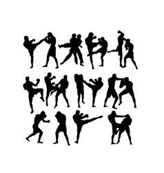 boxing competition silhouettes vector image