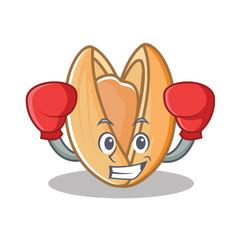 Boxing pistachio nut character cartoon vector