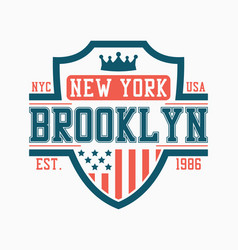 brooklyn shield design for college t-shirt vector image