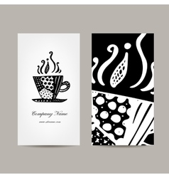 Business card template coffee cup design vector image