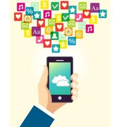 Business hand using smartphone vector