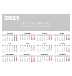 Calendar 2021 year design template vector