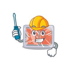 Cartoon character frozen salmon worked as an vector