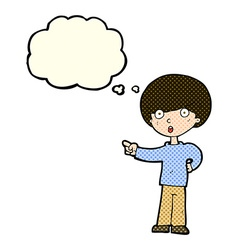Cartoon pointing boy with thought bubble vector