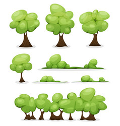 Cartoon trees hedges and bush leaves set vector