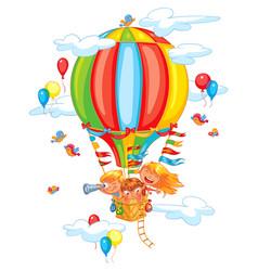 cheerful travel to a hot air balloon vector image