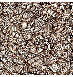 Chocolate hand drawn doodles seamless vector