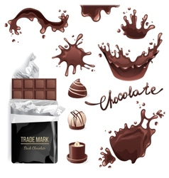 Chocolate splashes set vector image