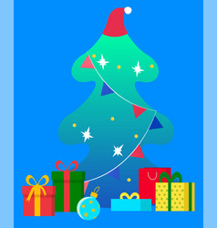 christmas fir tree and gift present boxes under vector image